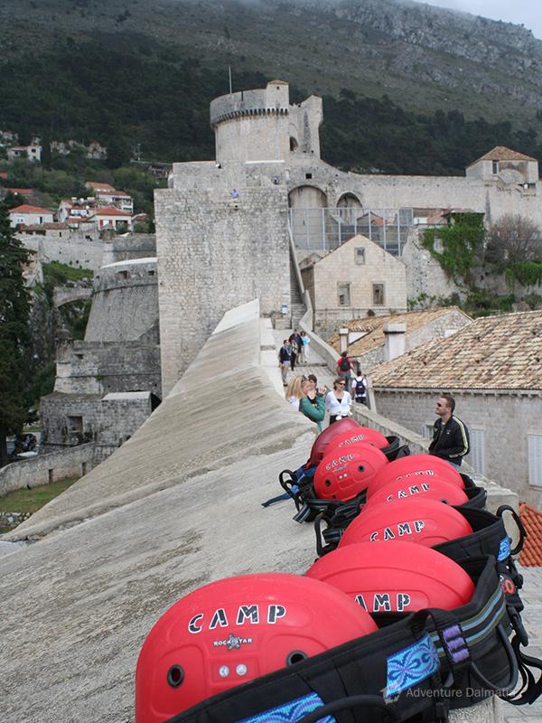 Helmets on city walls