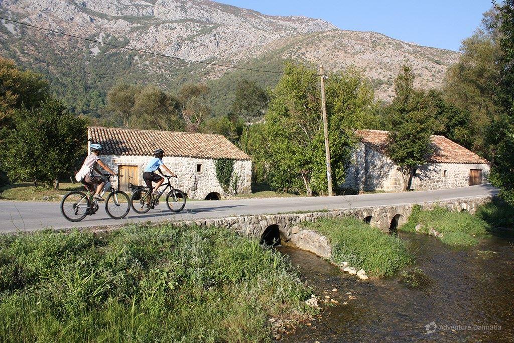 Biking near old mill in Konavle valley