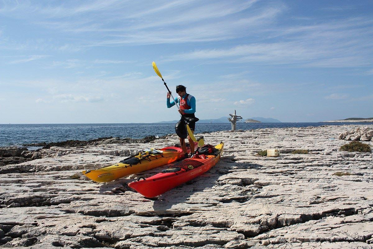 Pakleni islands archipelago. Overlooking Vis island.