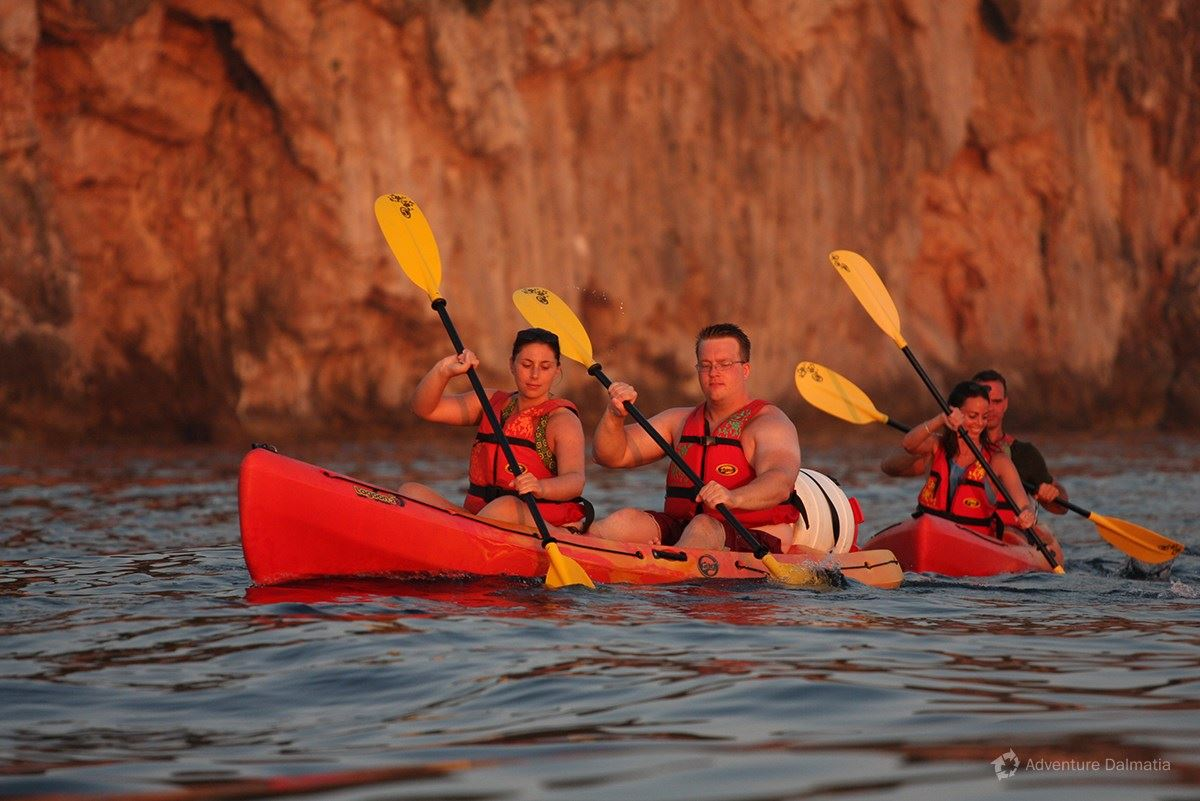 Kayaking towards Betina cave on a sea kayaking tour in Dubrovnik