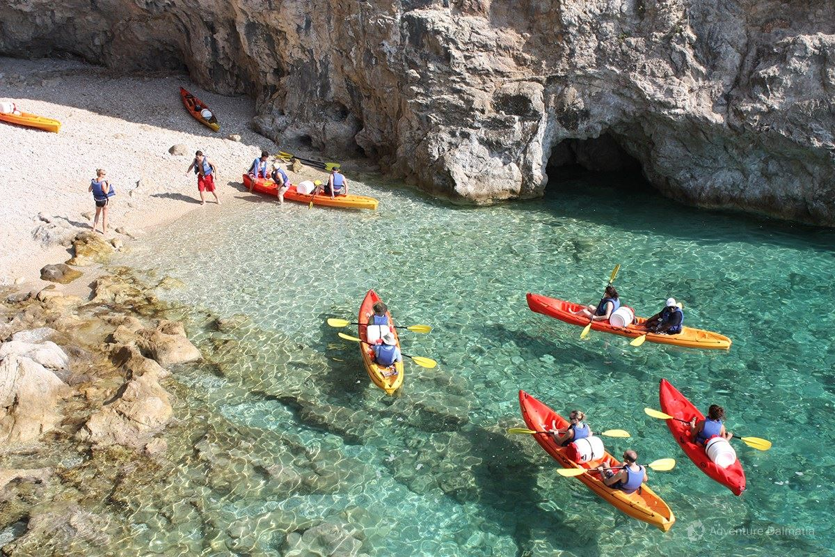 In front of Betina cave in Dubrovnik, kayaking tour