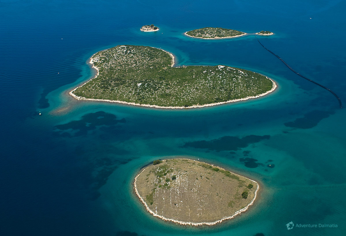 Heartshapped island of Galešnjak in Zadar archipelago.