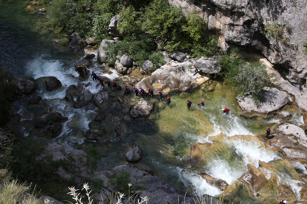 Water in the canyon of Cetina river is controlled by dams
