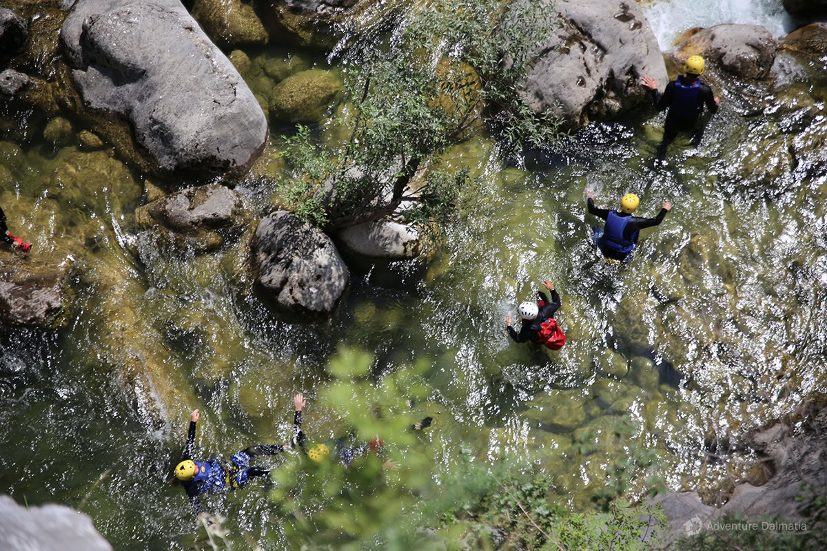 Canyoning is a combination of walking, floating and swimming through the river