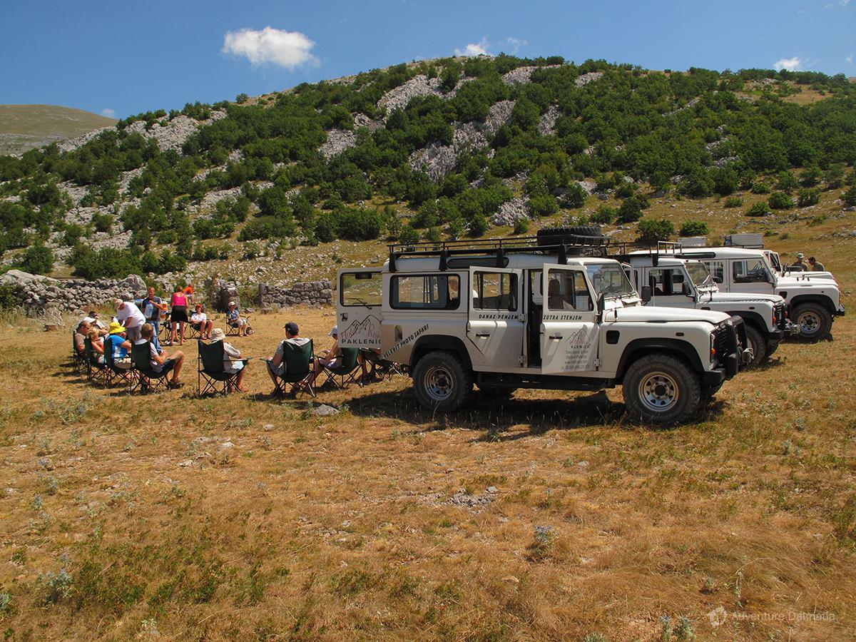 Break on a Jeep safari trip on Velebit mountain