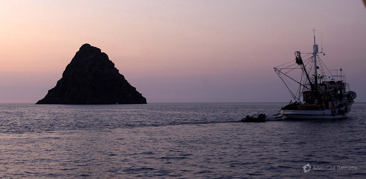 Volcanic island of Jabuka (96m) in the middle of the Adriatic sea