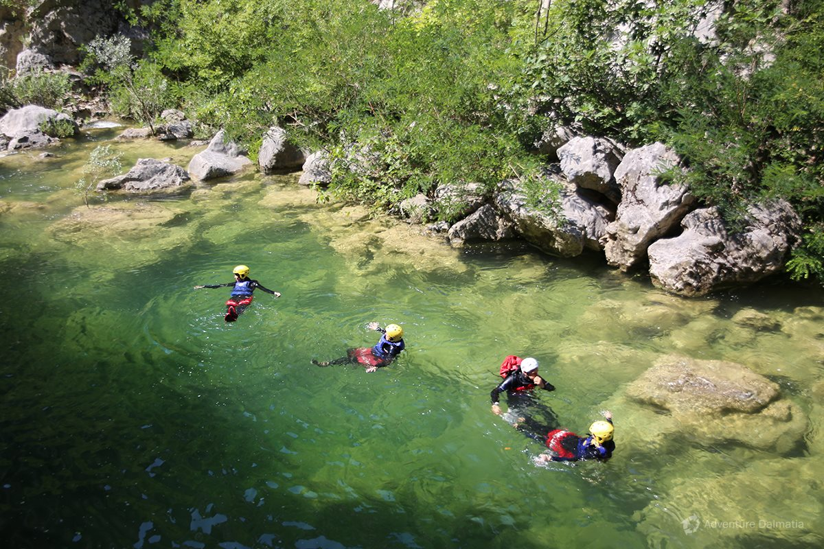 Relaxing in the calm part of the Cetina canyon