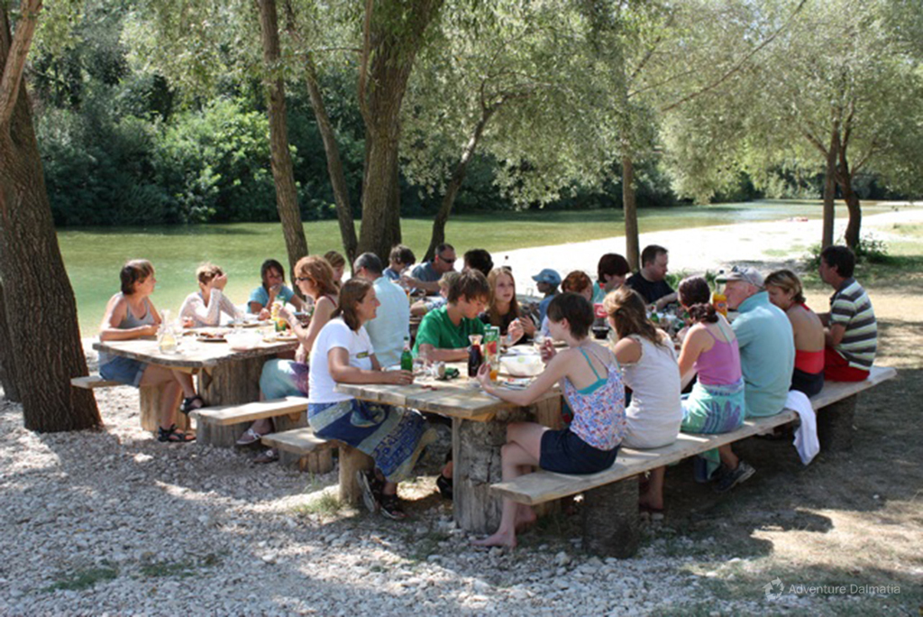 Barbecue after the Rafting tour near Cetina river
