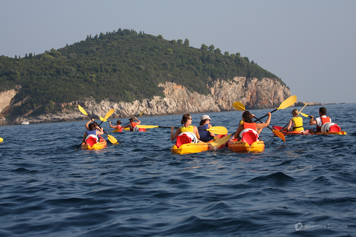 Kayaking towards Lokrum island