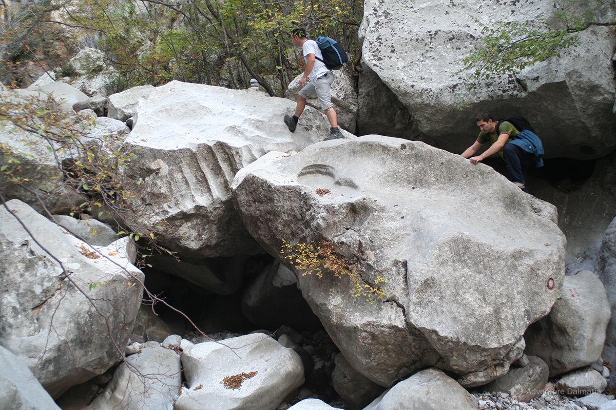 Hiking, stiff cliffs on Velebit mountain