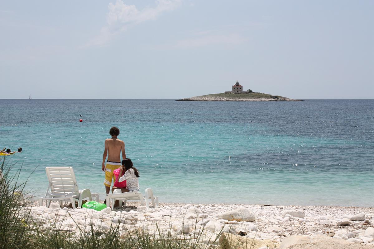 Lighthouse on Pokonji Dol in front of Hvar Town