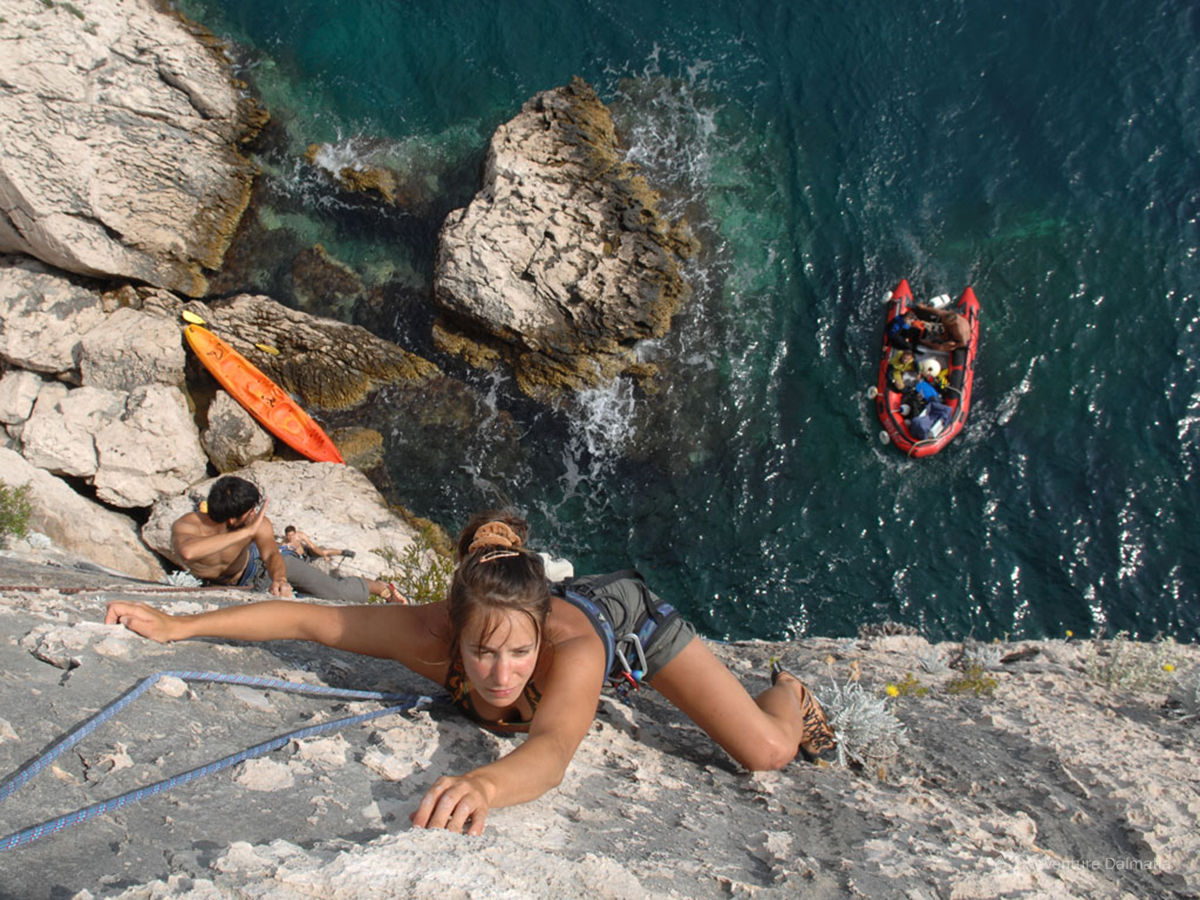Preparing new climbing routes as a part of Adventure Dalmatias project Developing adventure toursim