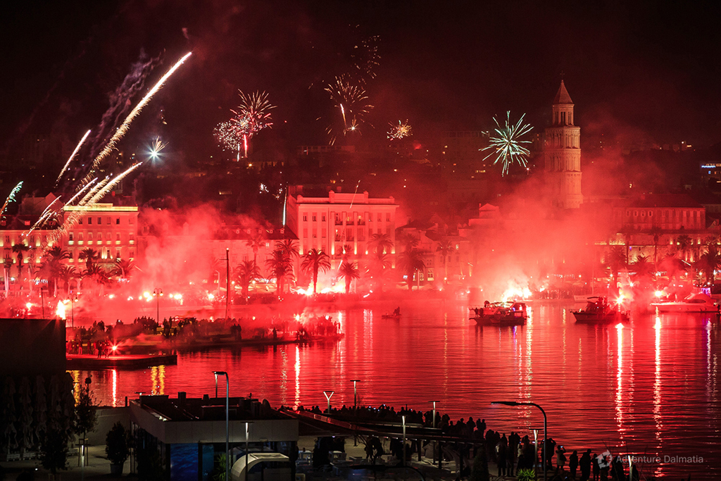 Split celebrating 100 years of city football club Hajduk in 2011th