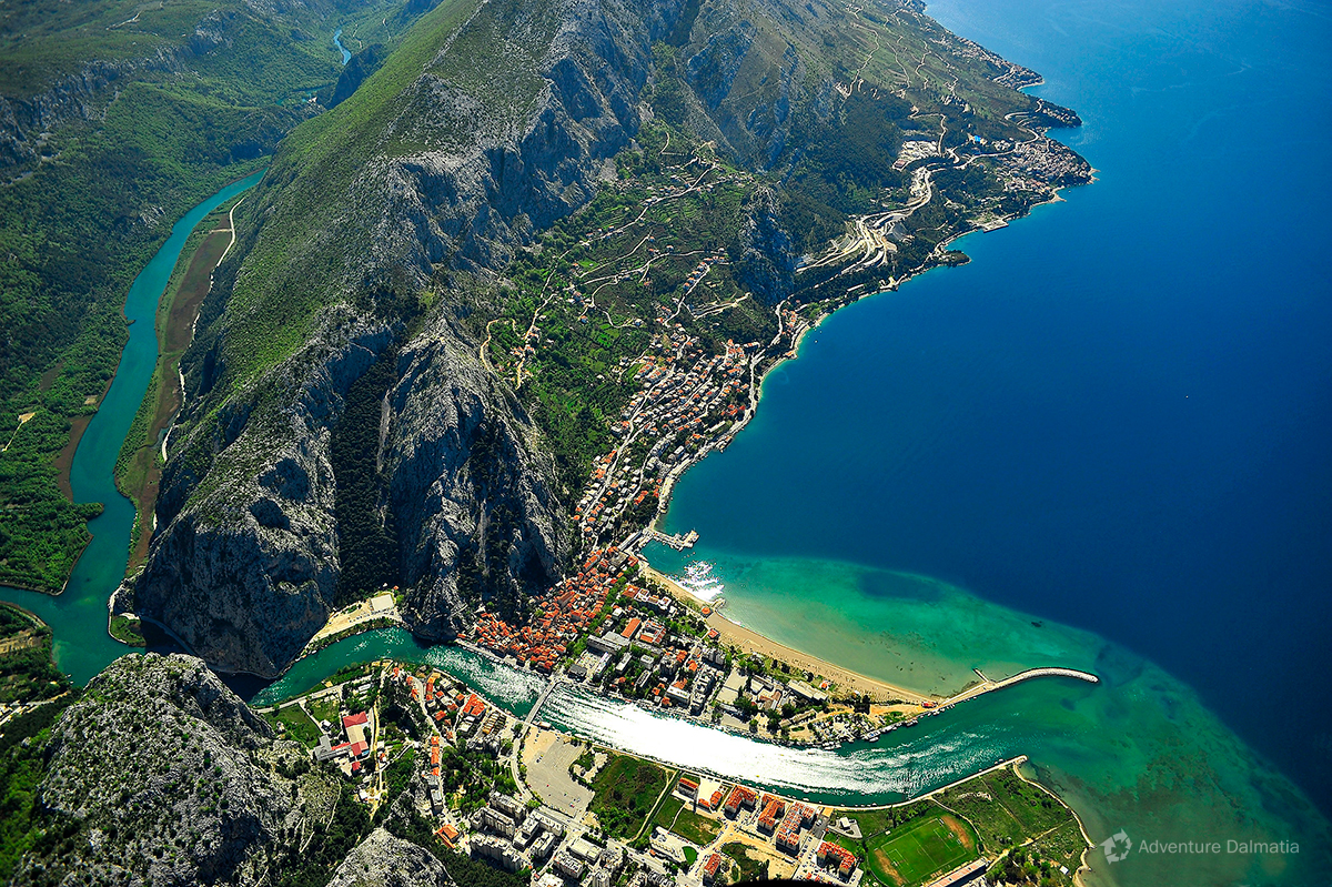 Omiš town at the mouth of Cetina river