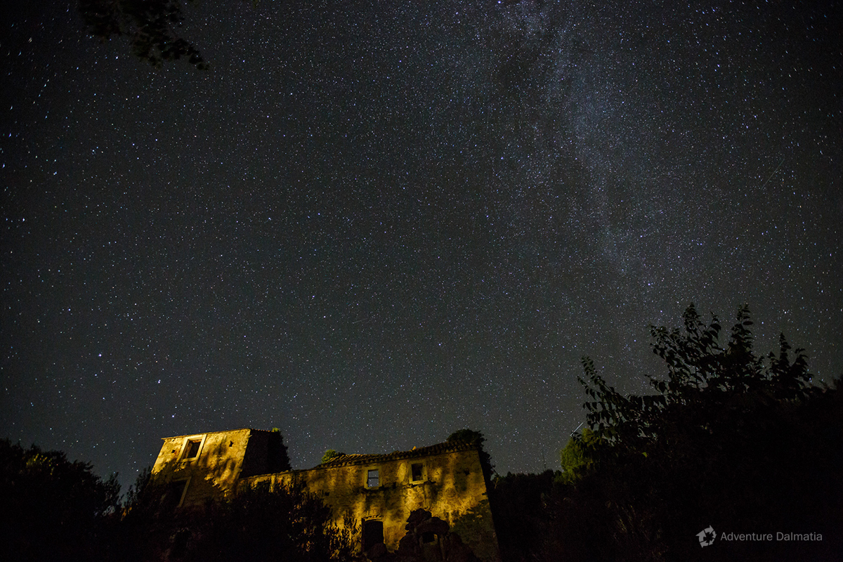 Milky way - A view from abandoned village Malo Grablje - Island of Hvar, Croatia