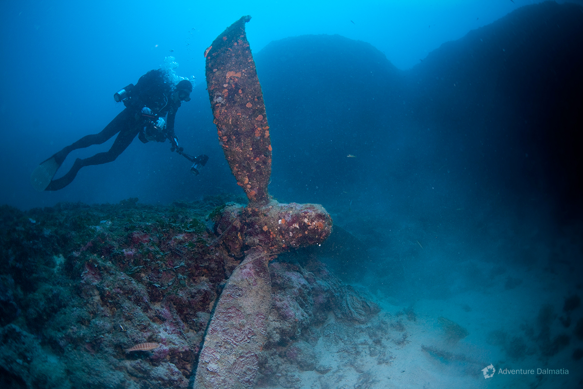 Sunken American warplane from WW II. Liberator B 24 on 39 meters depth. South side of Vis island.