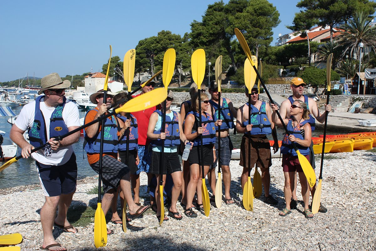 Preparing for sea kayak tour - Hvar