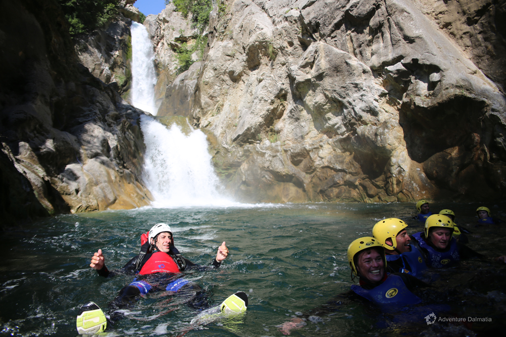 After abseiling, below the  Velika gubavica waterfall