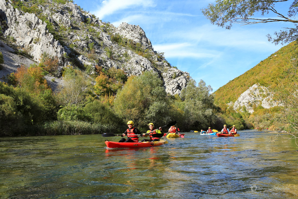 Canoeing through calmer parts of the river