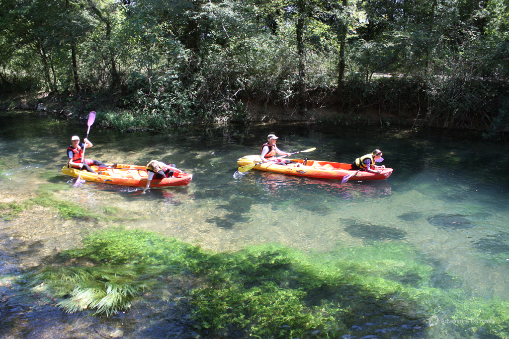 Clean waters of Vrljika river, Canoe Safari trip