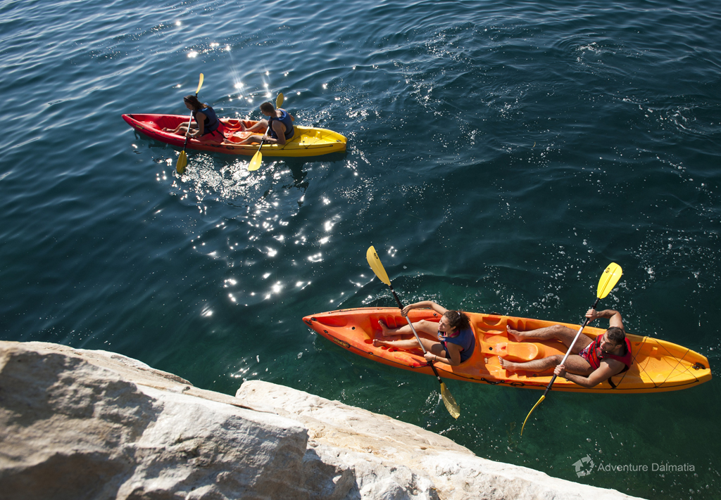 Double sit on top kayaks, kayaking around the city of Split