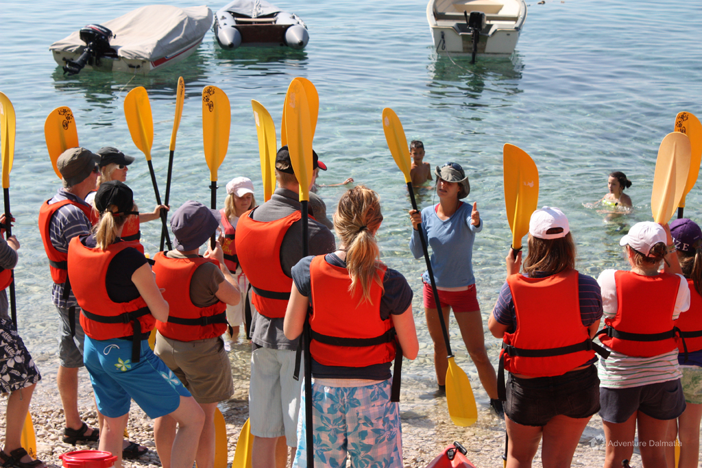 Our guide giving instructions about kayaking, Brela near Split