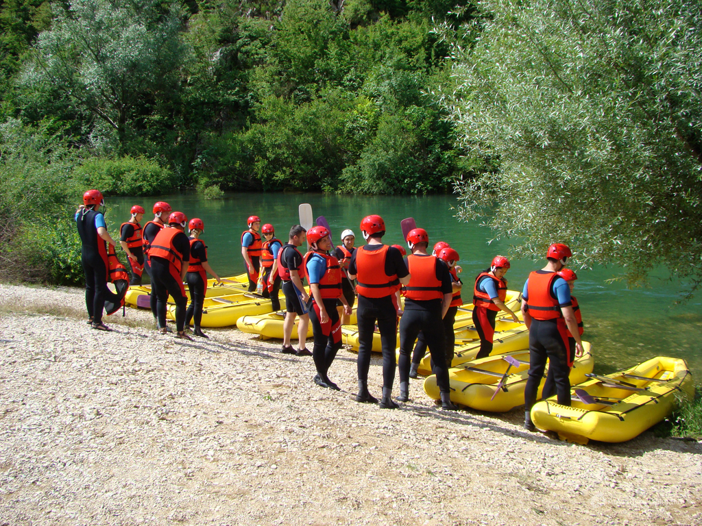 Our rafting tour starts from hidden river beach with a safety briefing