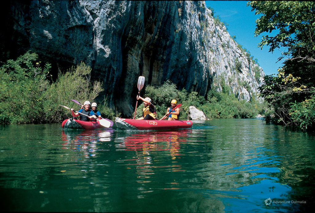 Paddling calm waters of the river Cetina, available with pick up from Split