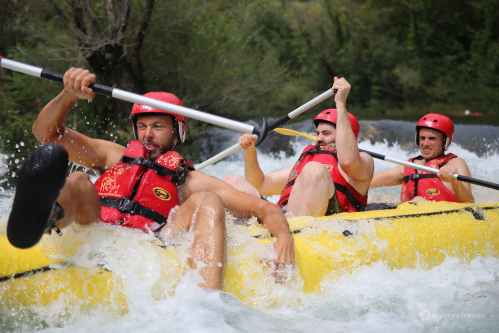 Passing through one of the rapids on a rafting trip on Cetina river