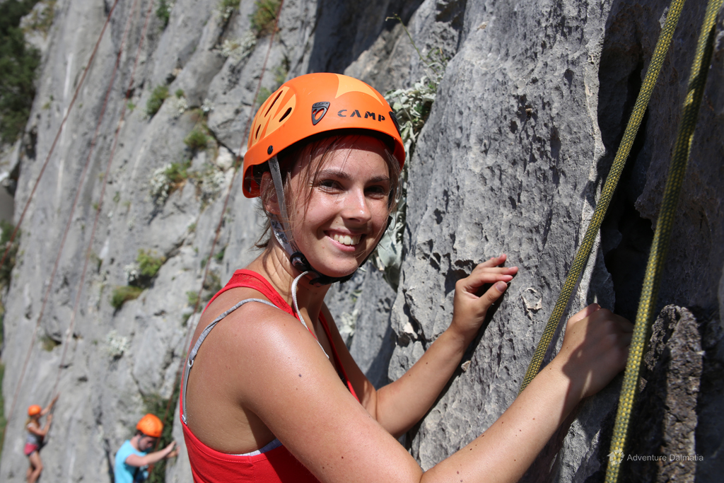 Preparing for climbing in Omiš city
