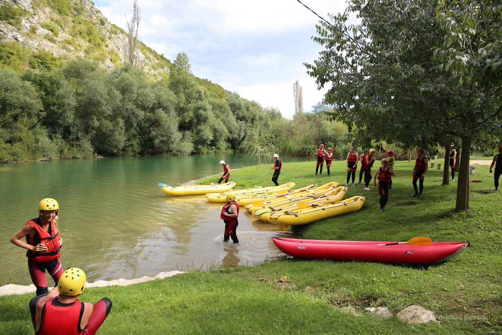 Rafting break at the Cetina river beach, free time
