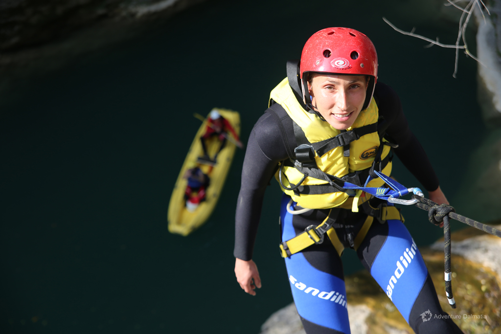 Ready to abseil from 22 meters above the surface of the river, Small Gubavica waterfall