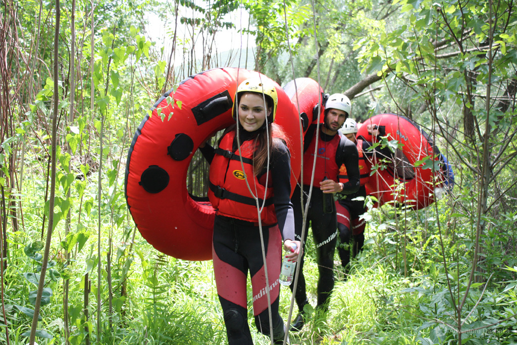 Passing through the forest with tubes, Cetina river tubing activity