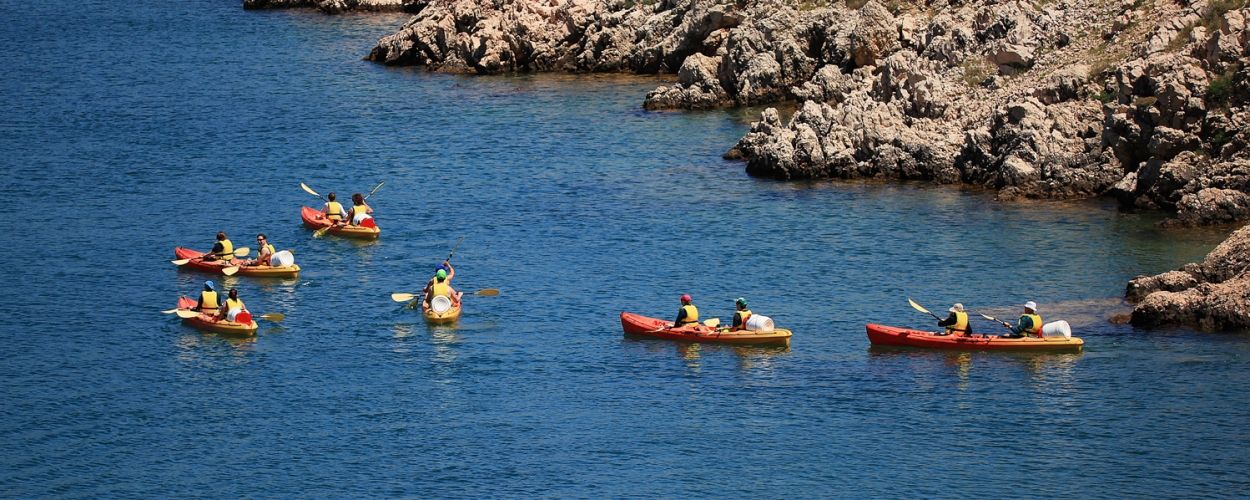 Sea kayak tour starts from beach Jaz in Starigrad Paklenica and goes towards Vinjerac.