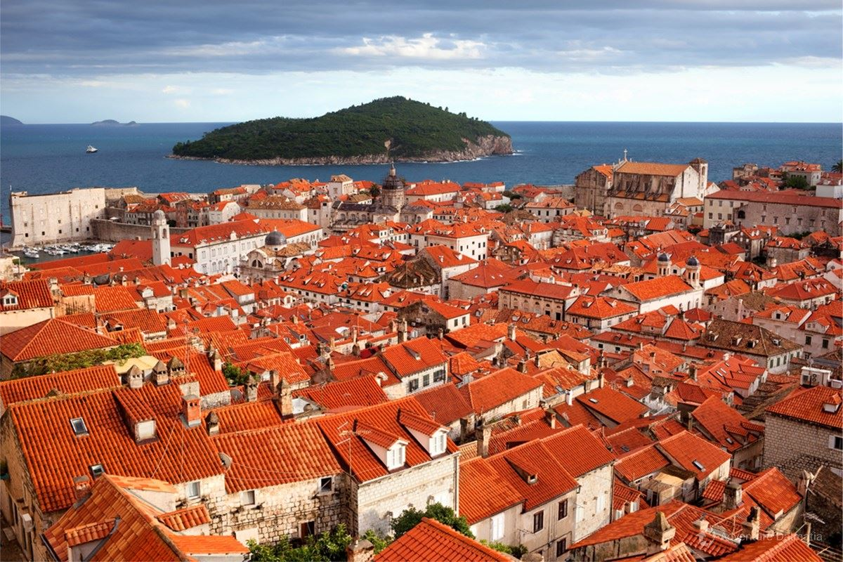 Island of Lokrum and Dubrovnik roofs, view from Minčeta tower