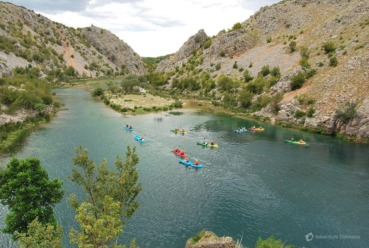 Zrmanja flowing along long and narrow valley