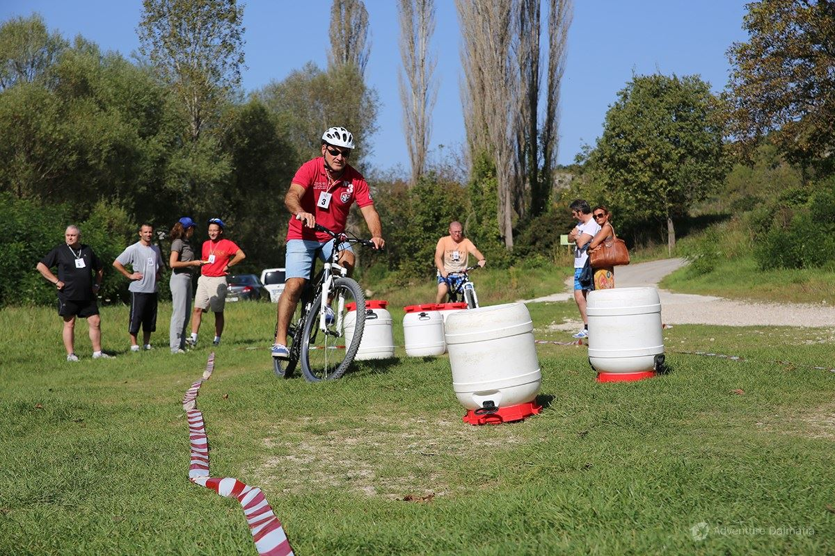 Team building games - Biking with obstacles