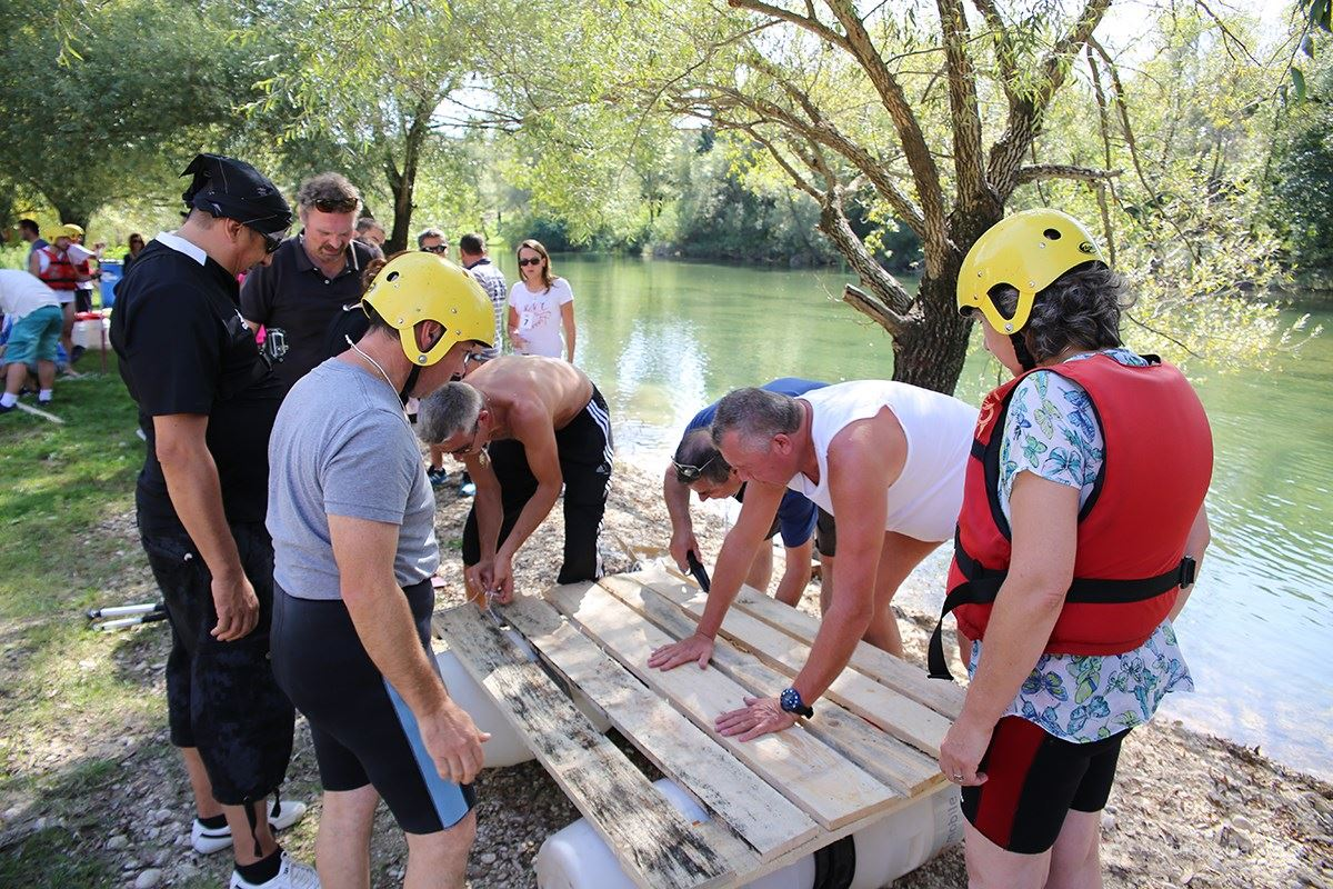 Team building games - Building a raft competition