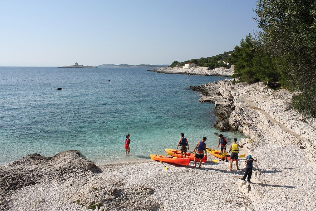 Break on a kayaking tour on Hvar island