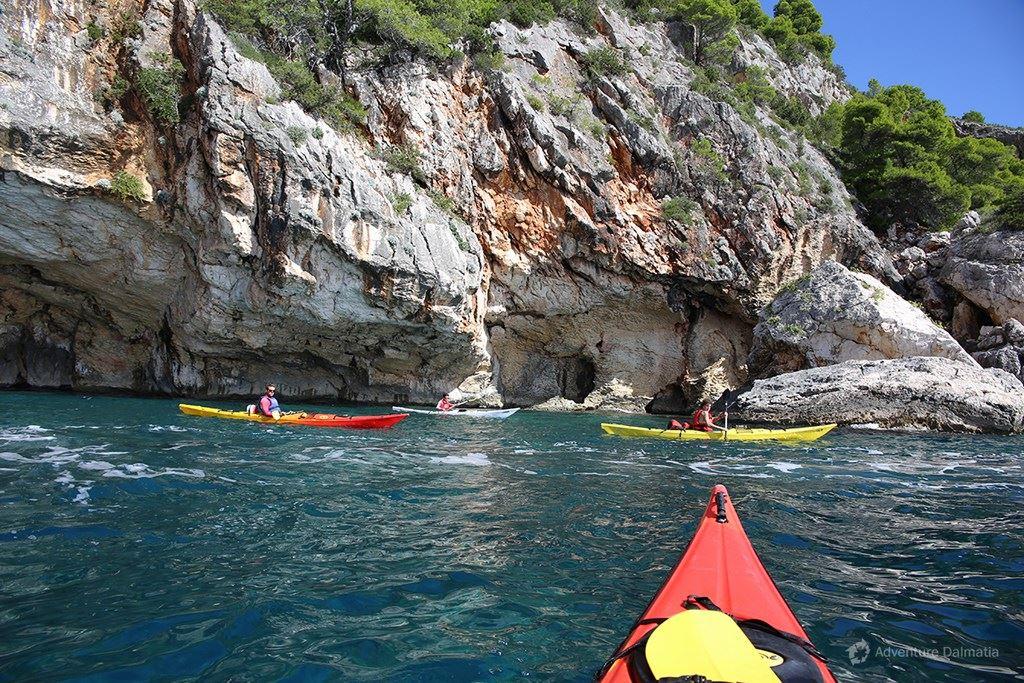 Kayaking near Zaraće bay - Island of Hvar.