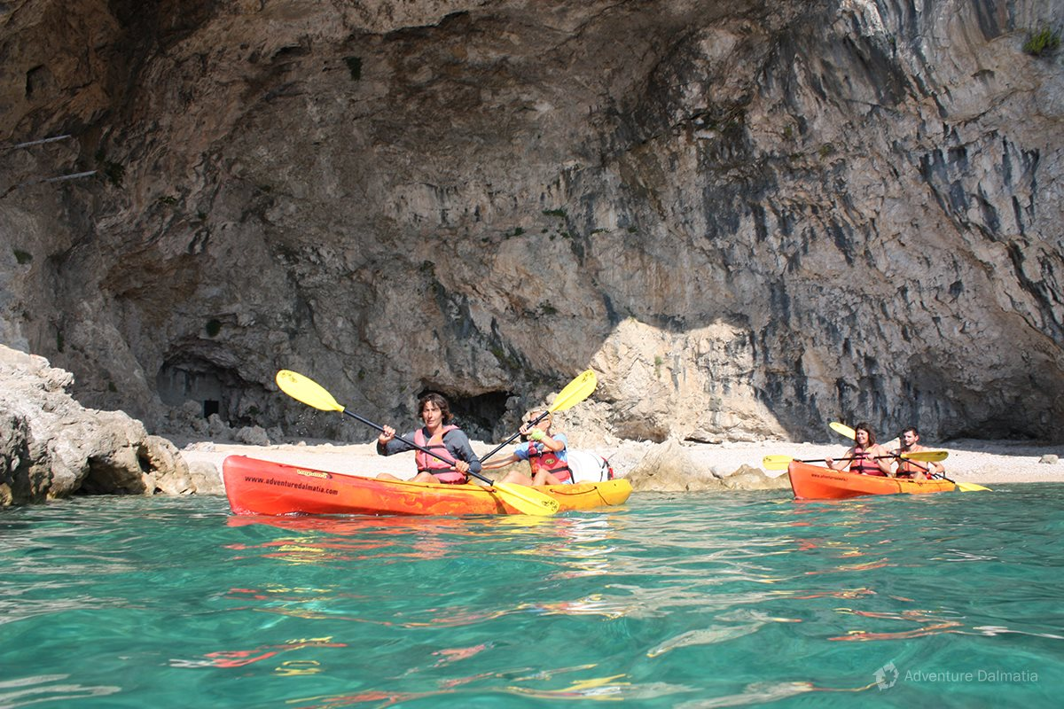 Hidden beach inside the cave, Dubrovnik sea kayaking
