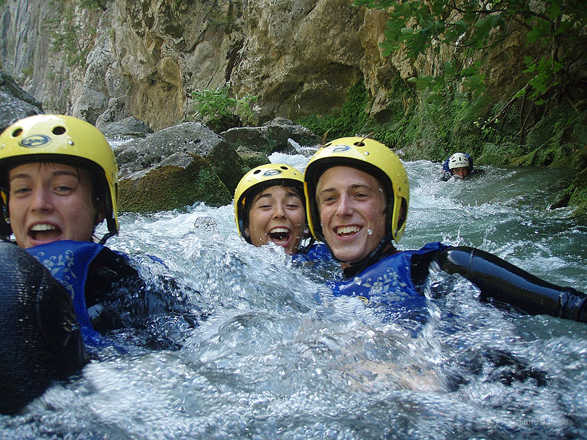 Easy sliding through white water rapids of the river