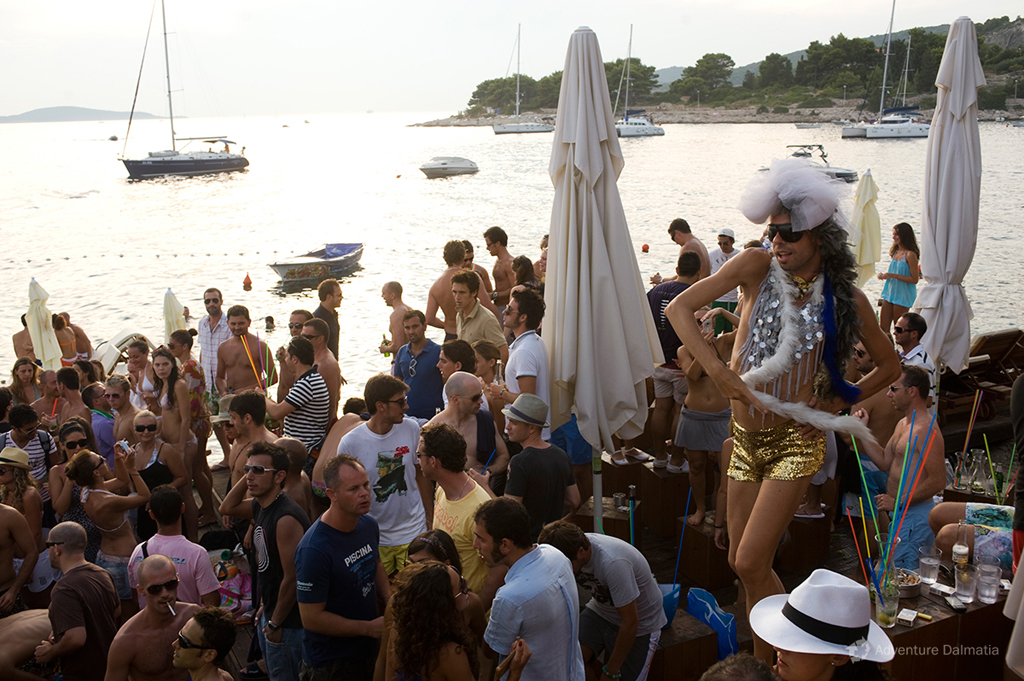 Hvar town. Beach party.