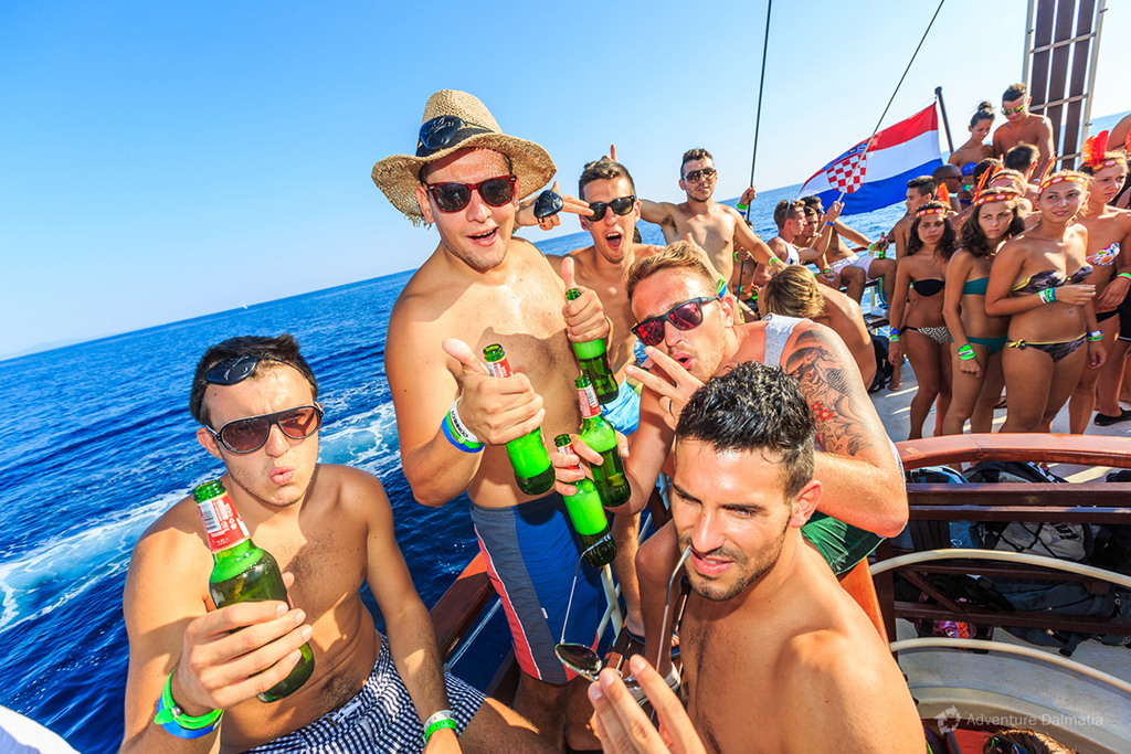 Partying on a boat along the coast of Split