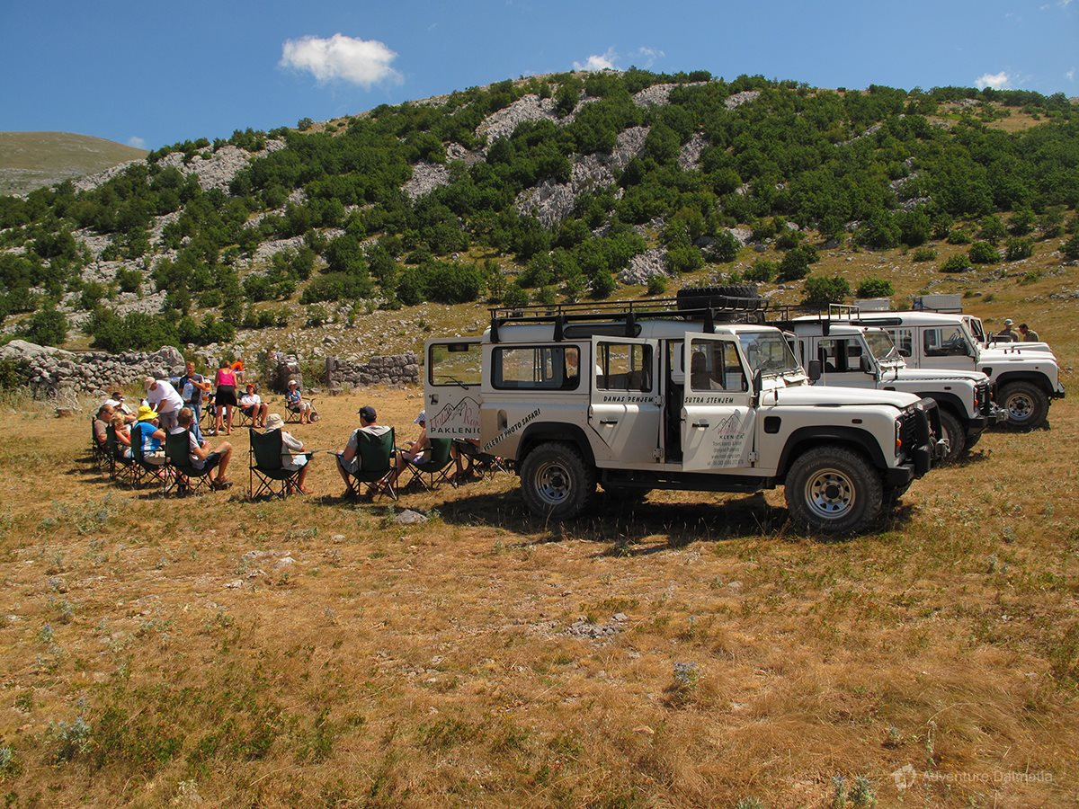 Taking a break on a Velebit Jeep Safari tour