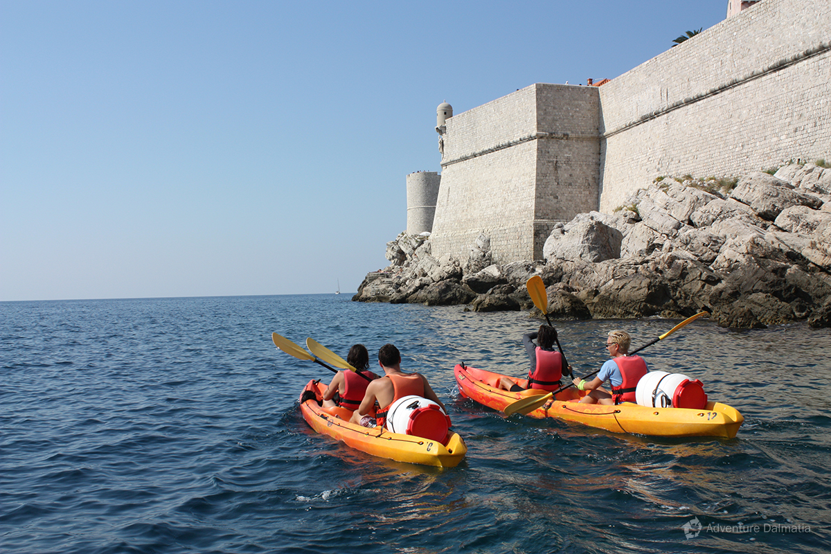 Kayaking around the city walls of Dubrovnik