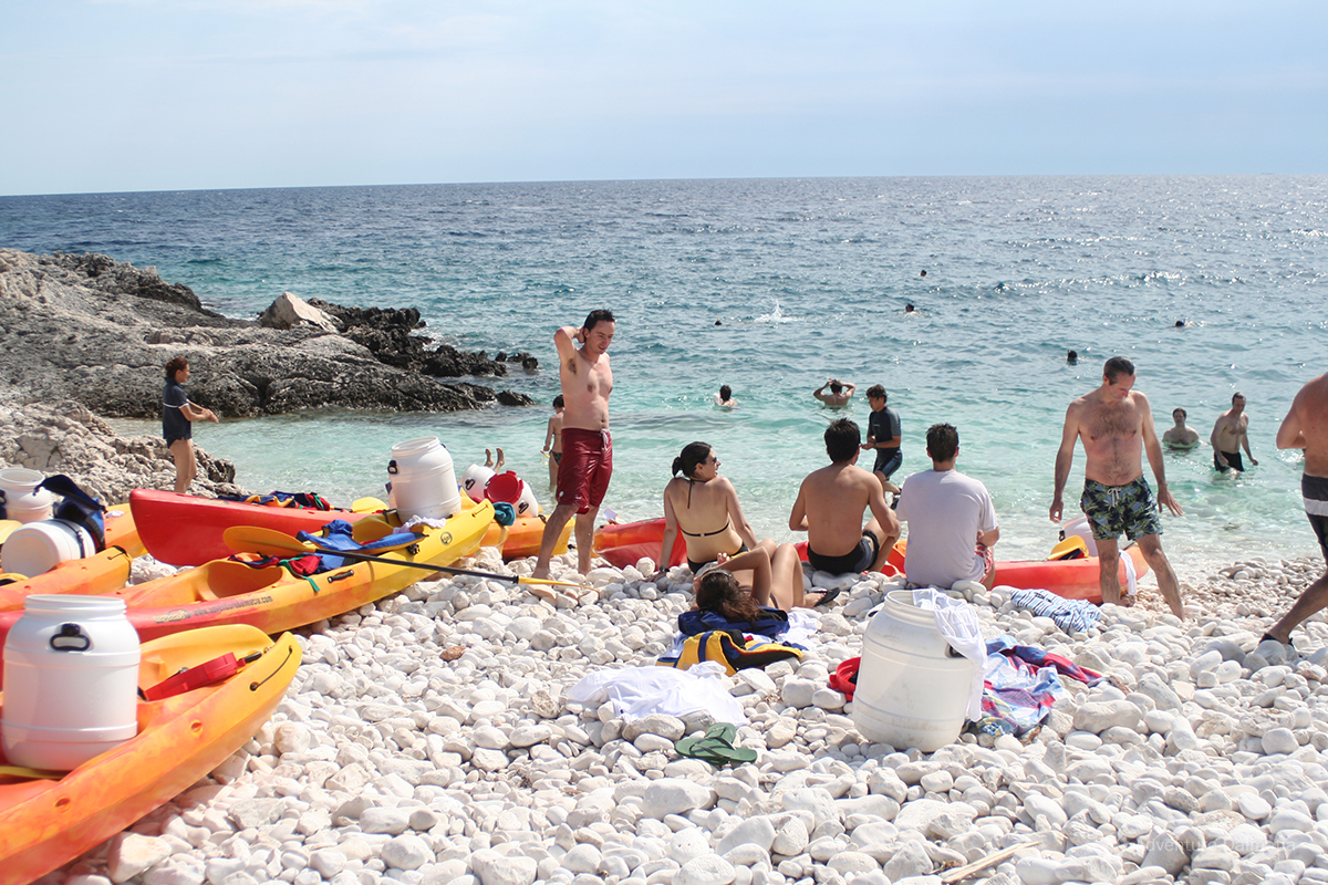 Swimming & snorkeling pause during sea kayaking tour on Hvar island