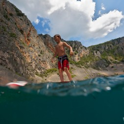 Having fun with paddle boards - Blue lake, Imotski.