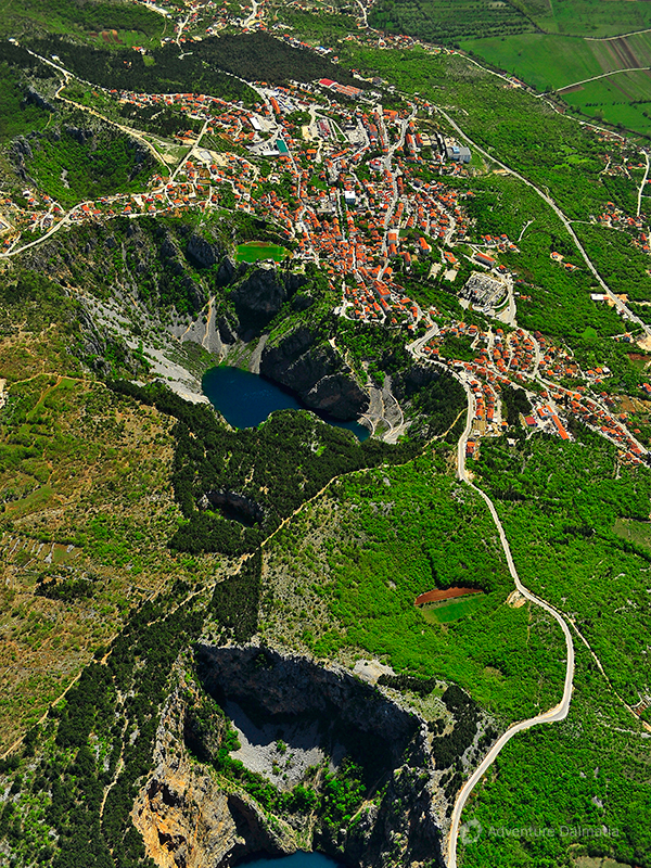 Blue and Red lake near Imotski town. Red lake is one of the deepest lakes in Europe (287m deep)
