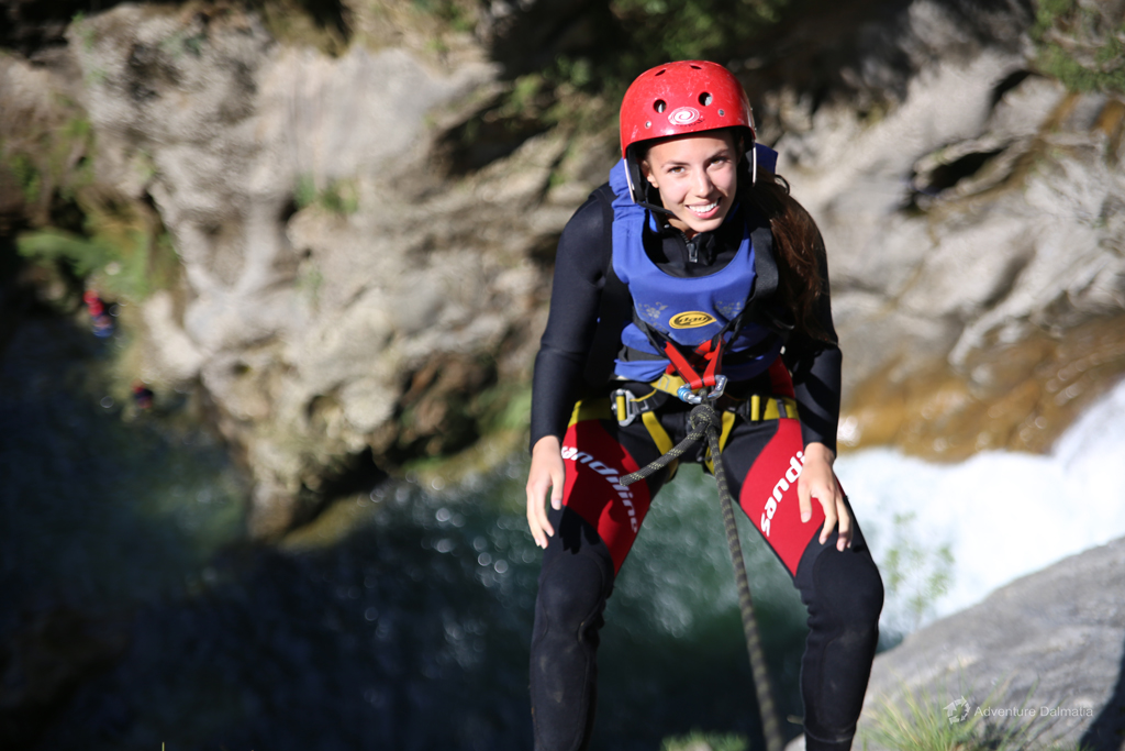 Abseiling from 55m above Velika Gubavica waterfall